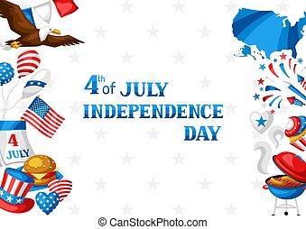 card., köszönés, negyedik, július, nap, szabadság