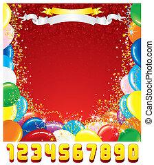 card., köszönés, születésnap, vektor, tervezés, sablon