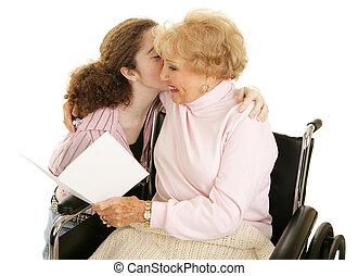 Card & Kiss for Grandma - Grandmother reading a greeting...