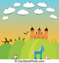 Card. landscape with castle wizard, Cartoon Dragon, Unicorn, bats. vector