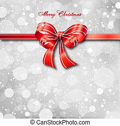 card., mágico, arco, vetorial, natal, vermelho