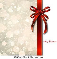 card., magisch, schleife, vektor, weihnachten, rotes