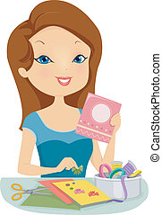 Illustration of a Pretty Woman Making Personalized Cards