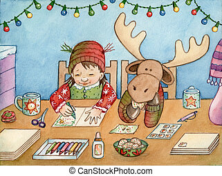 Card Making - Watercolor illustration of a girl and her...