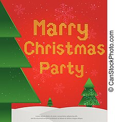 card marry christmas party vector graphics and snowflake