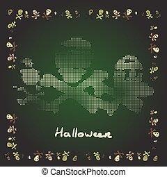 Card Merry Halloween bones theme in shades of green