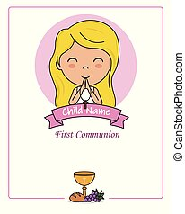 Card my first communion girl