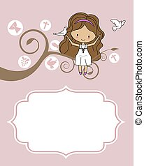 Card my first communion. Girl sitting on a tree with a dove