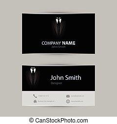 card., negócio, smoking, ilustração, vetorial, pretas