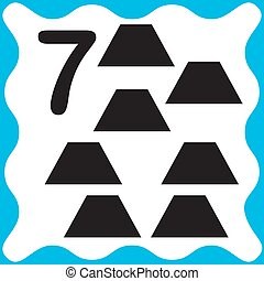 Card number 7 (seven) and trapeze. Learning numbers and ...