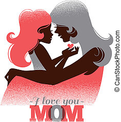 Card of Happy Mother's Day. Beautiful mother silhouette with her daughter in retro style