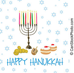 Card of objects for Hanukkah