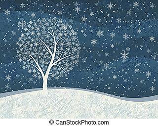 Card of snowfall with snowy tree. - Vector horizontal...