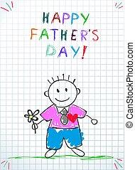 card., ojcowie, powitanie, dzień, niemowlę, rysunek, szczęśliwy
