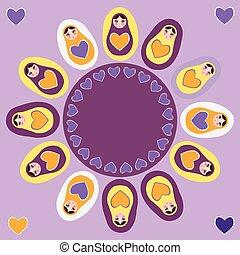 Card orange Russian dolls matryoshka on a purple background. Vector
