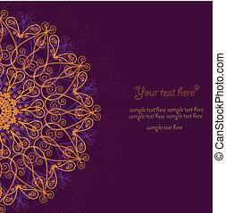 card., ouderwetse , frame, ontwerp, mal, uitnodiging