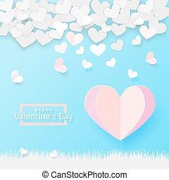 card., papier, sztuka, styl, dzień, valentine, powitanie