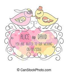 card., par, love., illustration, inbjudan, bröllop, fåglar, romantisk