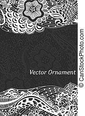 card., patrón, ?ard, hand-drawn, ingeniería, ornamentos, invitación, zentangle.