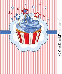 card, patriotiske, sted, cupcake