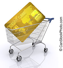 Card Pay - Concept of payment with credit card. Shopping...