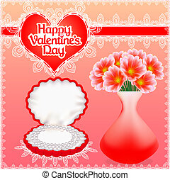 card  pearl necklace in a box with Valentine's Day