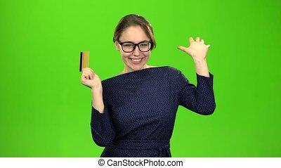 card., pieniądze, ekran, zielony, ona, dziewczyna, ma, szczęśliwy