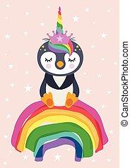 card, pingvin, enhjørning, regnbue, siddende, hils, cute