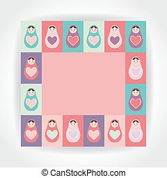 card pink, purple, orange, teal Russian dolls matryoshka with heart. Vector