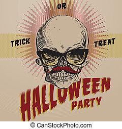card-poster-flyer, ontwerp, halloween, mal, feestje