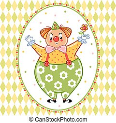 Card, poster or invitation with a circus clown.