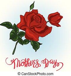 card., presente, rosas, s, mãe, dia, vermelho, feliz