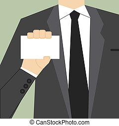 card., projection, illustration, main, vecteur, vide, homme affaires