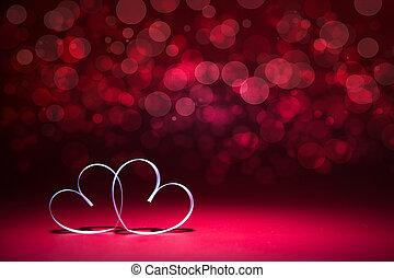 card., przestrzeń, list miłosny, text., dwa dnia, tło., serca, biały, kopia, twój, czerwony