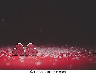 card., przestrzeń, list miłosny, text., dwa dnia, tło., serca, kopia, twój, czerwony