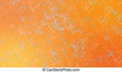 card., résumé, valentines, salutation, saint, hearts., fond, orange, jour, contour