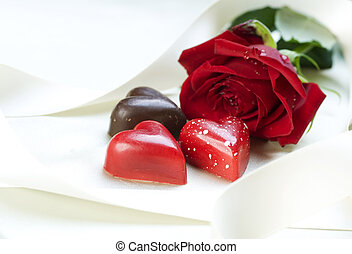 card., róża, valentine, serca, czekolada, czerwony