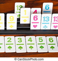 card rack in rummy card game close up - card rack close up...