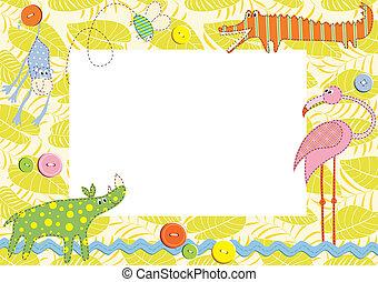 card., rahmen, abbildung, vektor, baby, oder