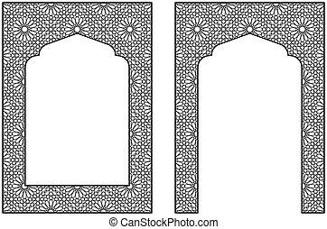 card., rectangular, árabe, marco, tradicional, a4., invitación, proporción, ornamento