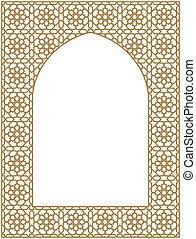 card., rectangular, árabe, marco, tradicional, invitación, ornamento