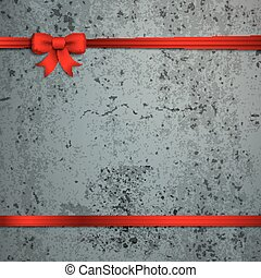 Card Red Ribbon Bow Cover Concrete