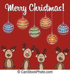 Card reindeer and unique Christmas balls
