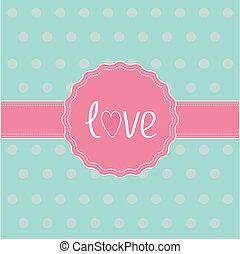 card., ribbon., etykieta, różowy, miłość