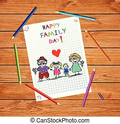 card., rodzina, powitanie, rysunek, niemowlę, dzień, szczęśliwy