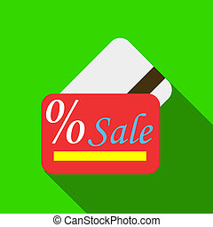 Card sale icon, flat style