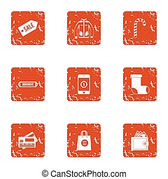 Card sale icons set, grunge style