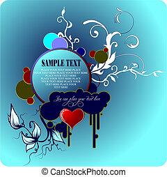 card., salutation, petite amie, vecteur, illustration, jour