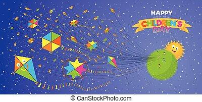 card., salutation, pourpre, soleil, voler, ciel, courant, fond, jour, planète, enfants, derrière, jaune, vert, cerfs volants, étoiles, beaucoup, blanc, enfants, rouges, heureux