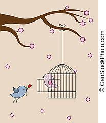 Card san Valentin. birds in love